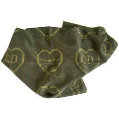 "VIntage Christian Dior France ""CD"" Logo Heart Motif Military Green Silk Scarf"