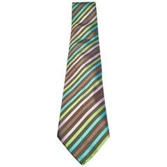 Hermes Paris Striped Silk Neck Tie