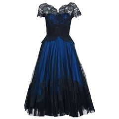 1955 Digby Morton Couture Black & Blue Floral Lace Illusion Pleated Party Dress