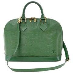 Louis Vuitton Alma Green Epi Leather Hand Bag + Strap