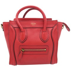 Celine Nano Luggage Red Calfskin Leather Satchel Bag