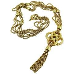 Christian Dior Vintage Gold Toned Sautoir Necklace