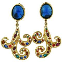 Yves Saint Laurent YSL Vintage Jewelled Dangling Earrings