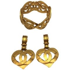 Chanel Gold Plated Heart Cuff and Earring Set