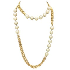 Chanel Gold Plated Chain Necklace with Pearl Details