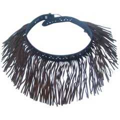 Exotic Brown Fringe Suede Belt Designed by Herve Masson Paris