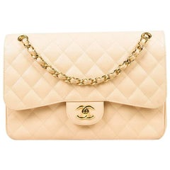 "Chanel Beige Caviar Leather Quilted Jumbo ""Classic Double Flap"" Bag"
