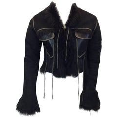 Garage Black Suede Cropped Jacket with Shearling Lining
