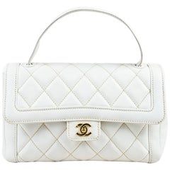 """Chanel White Leather Quilted Top Handle """"Wild Stitch"""" Satchel Bag"""
