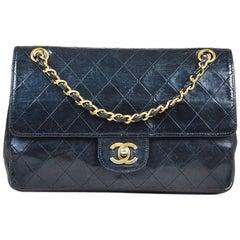 "VINTAGE Chanel Black Leather Quilted ""Classic Medium Double Flap"" Shoulder Bag"