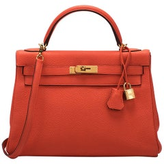Hermes 32CM Feu Togo With Gold Kelly Bag