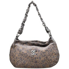 Chanel Gray Taupe Suede Leather Chain Strap Camellia Flower Shoulder Bag