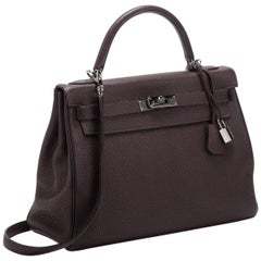 Hermes 32cm Bicolor Black Ebene Kelly Bag