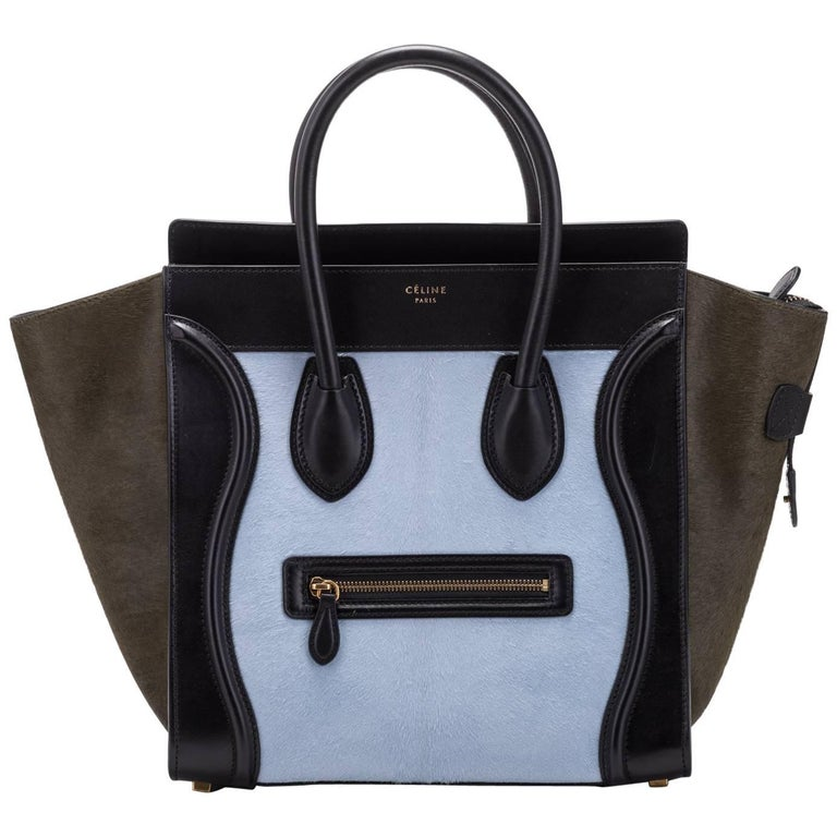 cea7c2a83d Celine Tricolor Pony Hair Mini Luggage Bag For Sale at 1stdibs