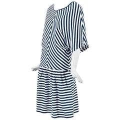 Junya Watanabe Comme des Garcons Navy White Cotton Striped Dress SZ S