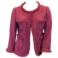 Moschino Pink Tweed Jacket with Fringe Trim