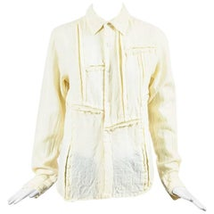 Comme des Garcons Cream Wool Exposed Seam Button Up Shirt SZ M