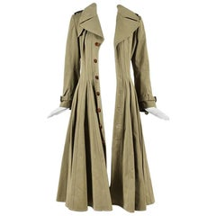 Junya Watanabe Comme des Garcons Green Cotton Flared Trench Coat SZ M