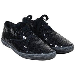 Comme des Garcons Black Sequined Lace Up Sneakers SZ 24.5