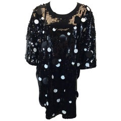 Sonia Rykiel Black and White Sequined Relax Fit Sheath Dress