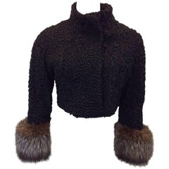 Vintage Black Cropped Textured Jacket with Furry Pouf Cuffs