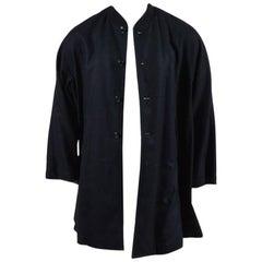 Comme des Garcons Homme Plus Black Wool Blend Flared Coat SZ S