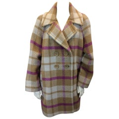 Sonia Rykiel Taupe and Pink Plaid Overcoat