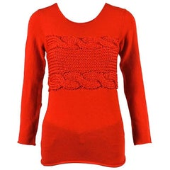 Comme des Garcons Red Wool Chunky Knit Jewel Neck LS Pullover Sweater