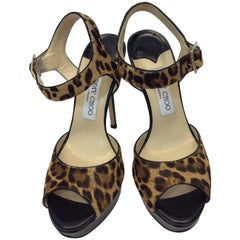Jimmy Choo Leopard Print Pony Hair T-Strap Sandals