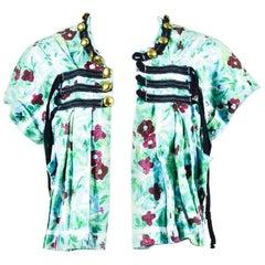 Tao Comme des Garcons Blue Floral Printed Military Strap SS Crop Jacket SZ S