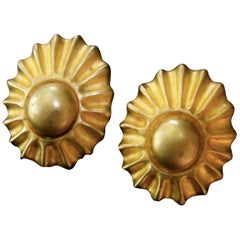 Hermes Paris Gilt Metal Sun Burst Clip on Earrings in Hermes Pouch