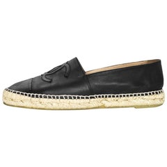 Chanel Black Leather Espadrilles Sz 42 with Box