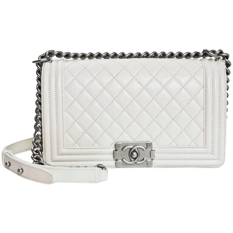 ce6139771300fa Chanel White Quilted Leather Medium Boy Bag SHW rt. $4,700 For Sale ...