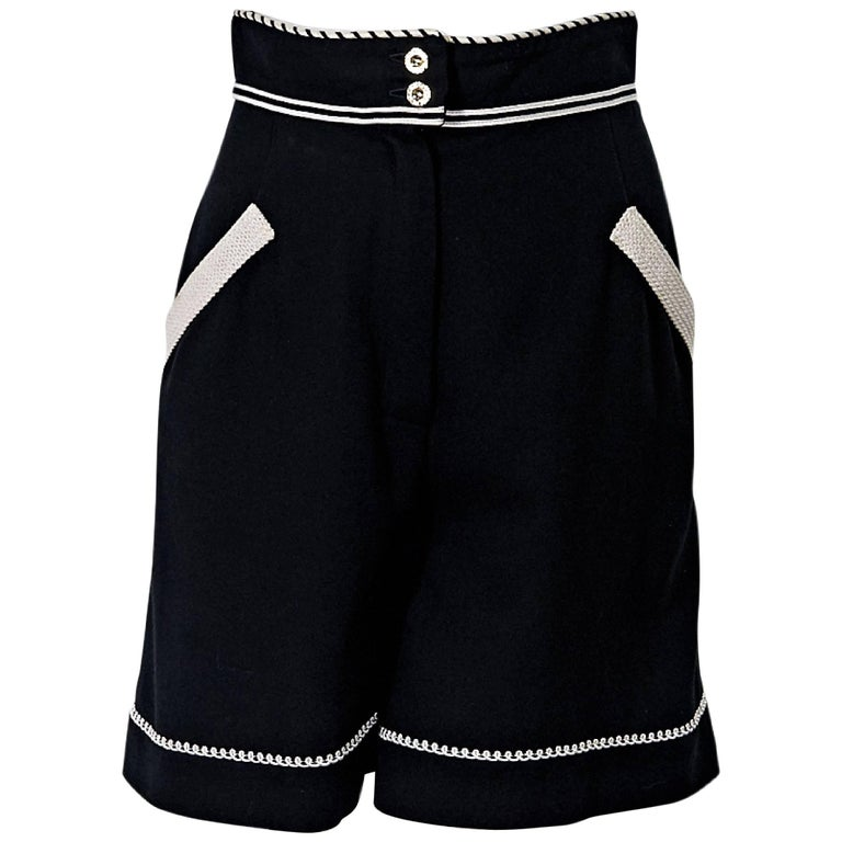 Black & White Vintage Chanel High-Waisted Shorts