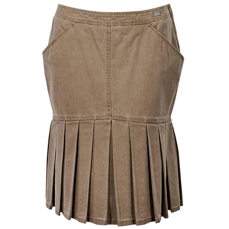 Tan Chanel Pleated Denim Skirt For Sale At 1stdibs
