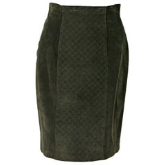 Olive Green Chanel Suede Pencil Skirt