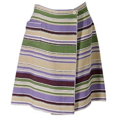 Multicolor Chanel Striped Wool-Blend Skirt