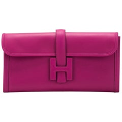 New in Box Hermes Rouge Pourpre Jige Elan Clutch Bag
