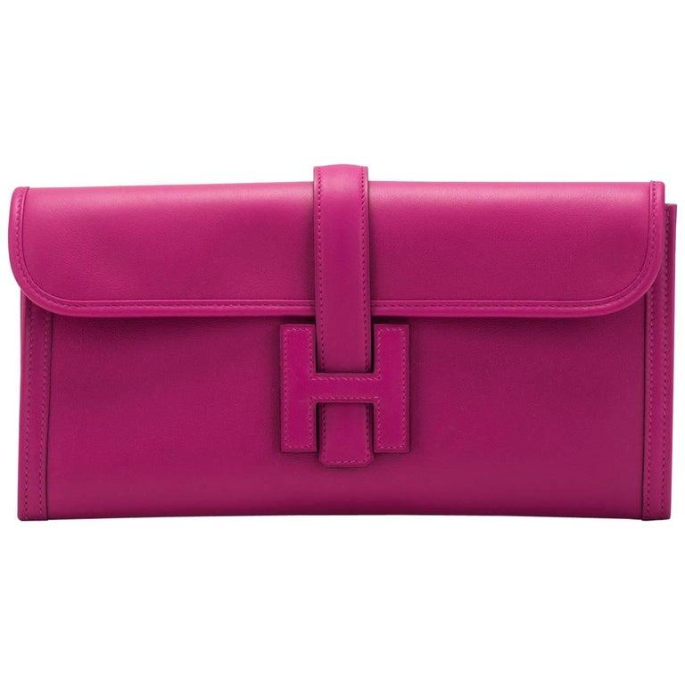 New in Box Hermes Rouge Pourpre Jige Elan Clutch Bag