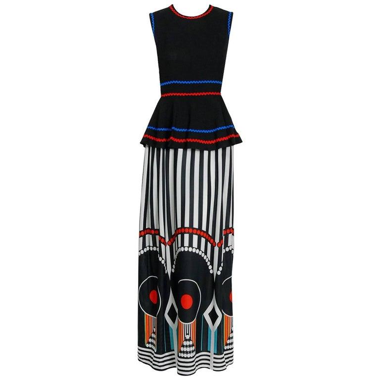 1970 Jean Varon Documented Linen & Jersey Graphic Print Peplum Maxi Dress