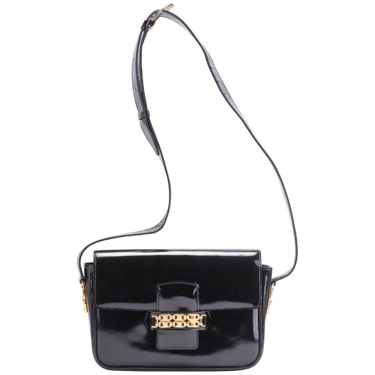f0b31ad7e140 1990 s Celine Black Patent Vintage Shoulder Bag For Sale at 1stdibs