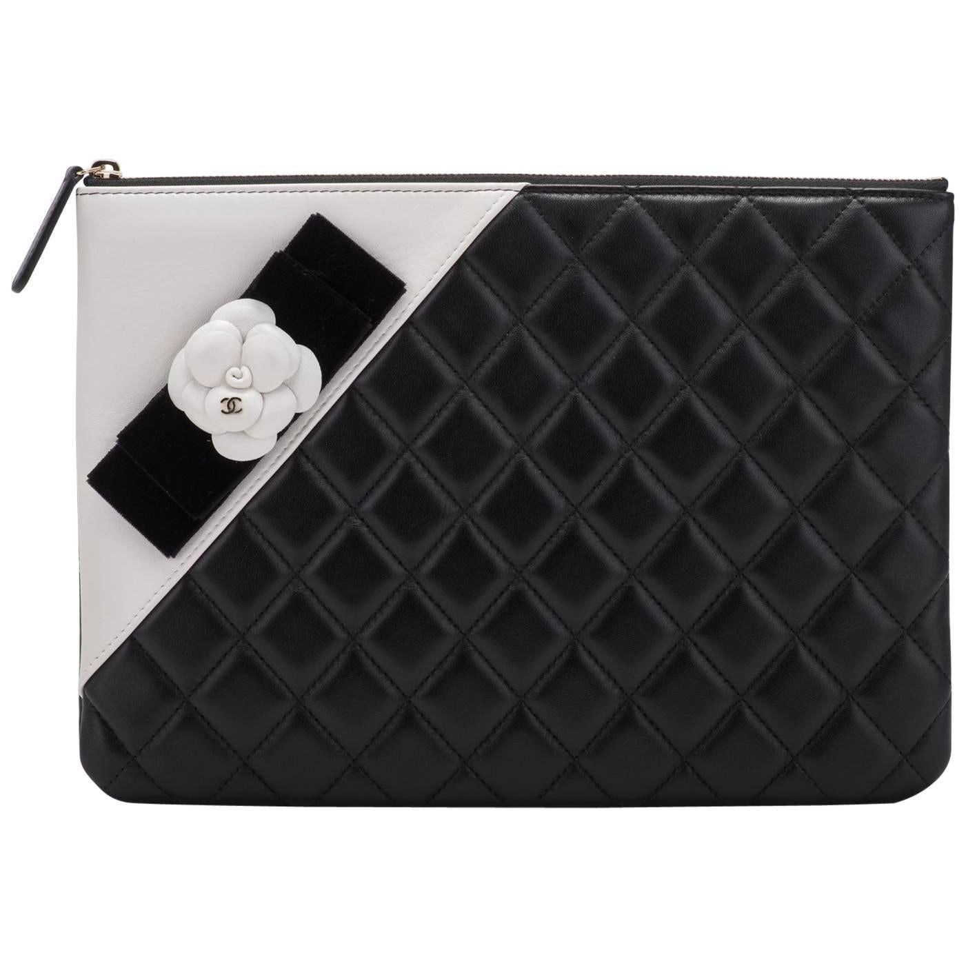 New Chanel Black and White Camellia Clutch Bag