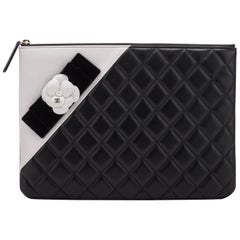 New Chanel Black & White Camellia Clutch Bag