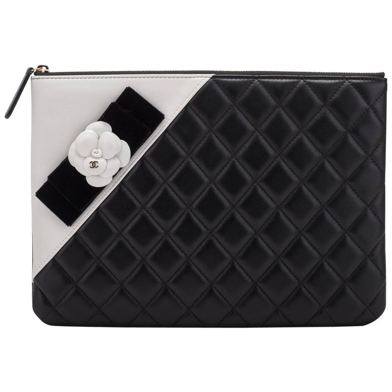 New Chanel Black and White Camellia Clutch Bag For Sale