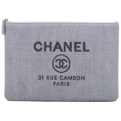 New in Box Chanel Large Linen Blue Clutch