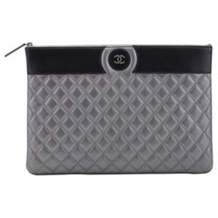 New Chanel Large Pewter Black Clutch