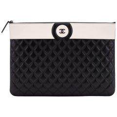 New Chanel Black White Large Clutch Bag