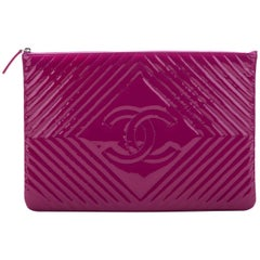 New Chanel Large Magenta Patent Clutch Bag