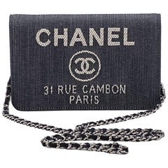 New in Box Chanel Denim Leather Cross Body Bag