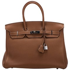 Hermes Birkin 35Cm Gold Togo/Palladium Bag